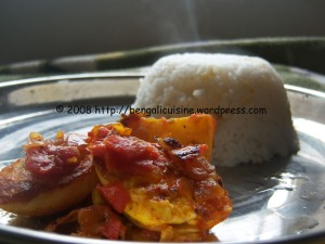 Rice and egg tomato