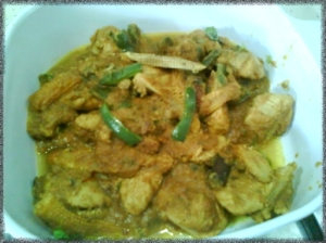 Chicken curry with capsium baby corn
