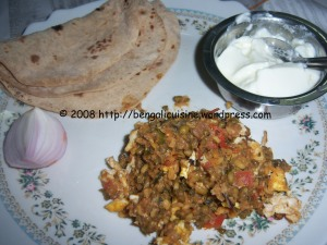 Tarka with roti, curd and onion
