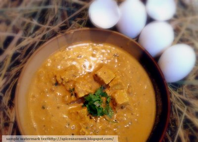 DISGUISED EGG CURRY (EGGS COOKED IN CASHEWNUT AND POPPY SEEDS SAUCE)