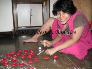 Getting the diyas ready- part II